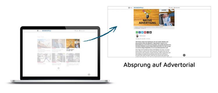 AdIn Beispiel - Absprung auf Advertorial - RHEINPFALZ