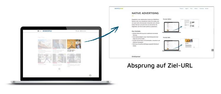 AdOut Beispiel - Absprung aus Pfalzticker
