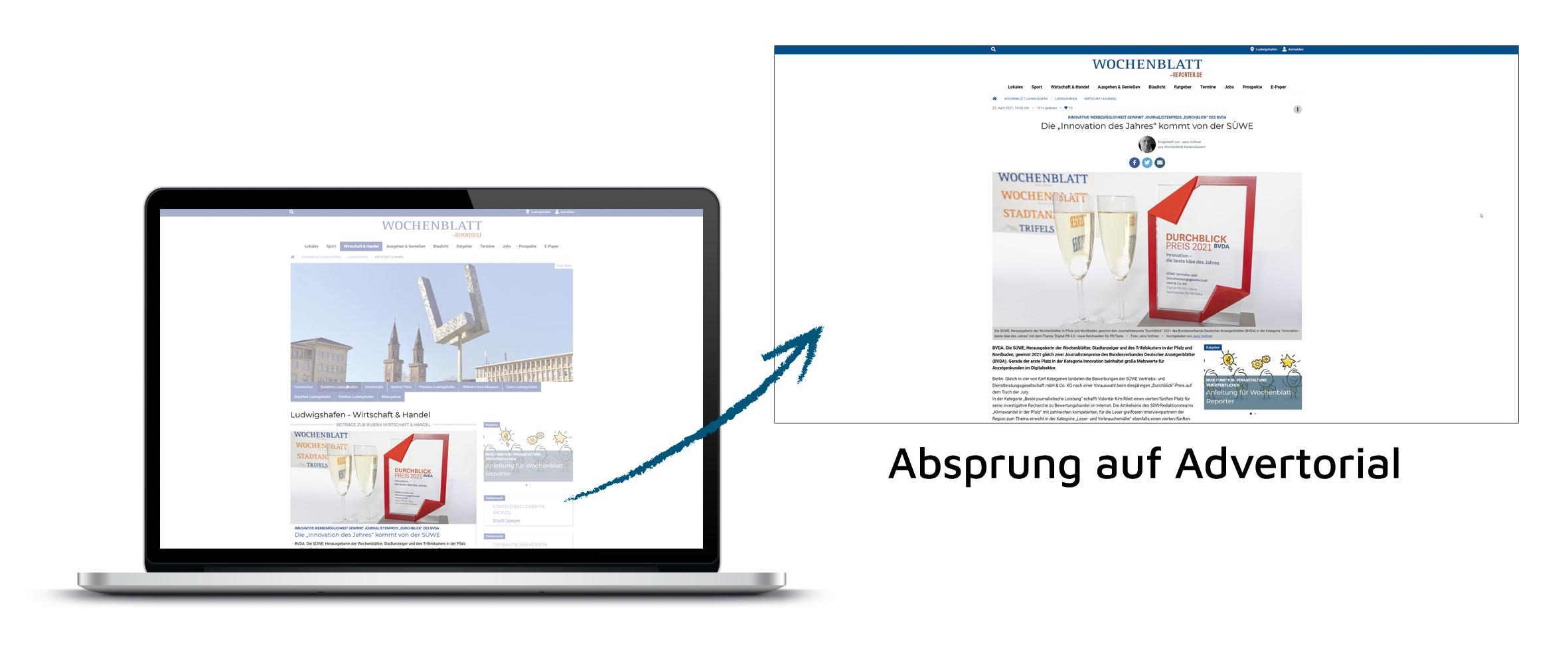 AdIn Beispiel - Absprung auf Advertorial - Wochenblatt